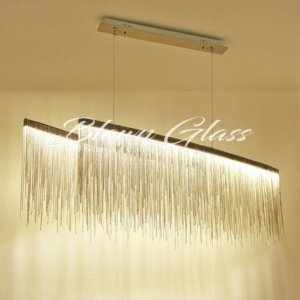 40 Inch Dining Room Chandelier- Metallic Icicles - Blown Glass Collective