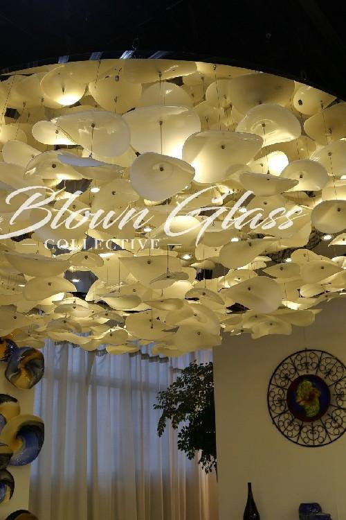 Large Ceiling Chandelier - Sleet & Snow - Blown Glass Collective