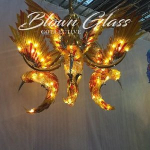 Hummingbirds in Flight Hand Blown Glass Chandelier - Blown Glass Collective