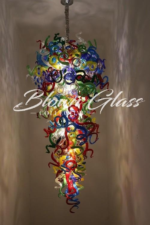 All the Colors on Parade Hand Blown Glass Chandelier - Blown Glass Collective