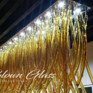Arching Amber Mix Hand Blown Glass Chandelier - Blown Glass Collective