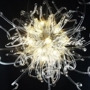 Curling Light Hand Blown Glass Chandelier - Blown Glass Collective