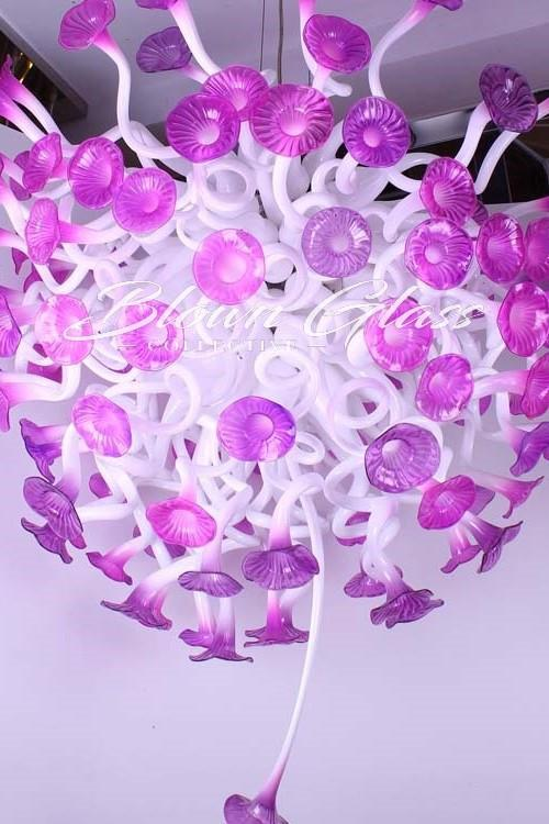 Lavender Poppies Hand Blown Glass Chandelier - Blown Glass Collective