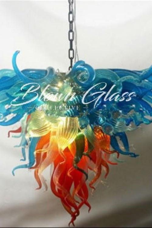 Modern Rainbow Hand Blown Glass Chandelier - Blown Glass Collective