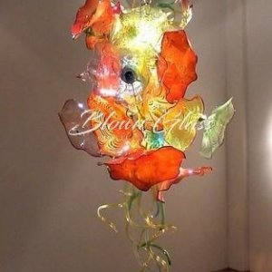 Lily Pads in Bloom Hand Blown Glass Plate Chandelier - Blown Glass Collective