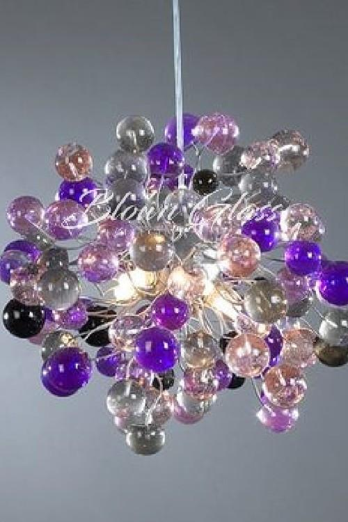 Purple Planets Hand Blown Glass Chandelier - Blown Glass Collective