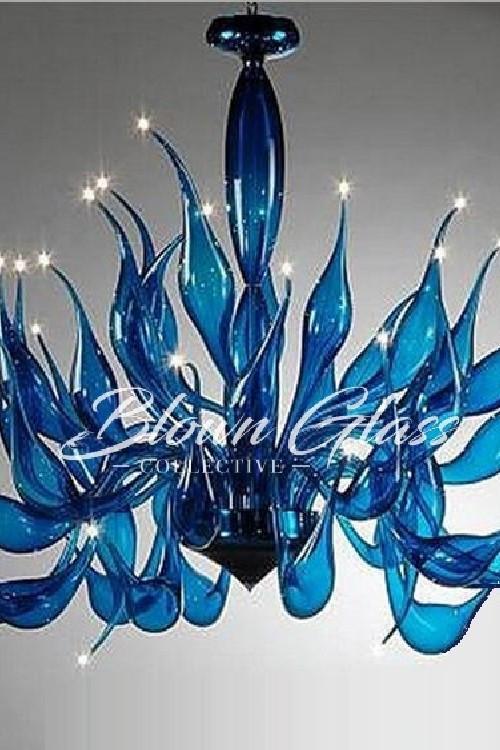 Lilies Up Hand Blown Glass Chandelier - Blown Glass Collective