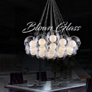 White Double Take Hand Blown Glass Chandelier - Blown Glass Collective