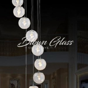 Water's Path Hand Blown Glass Chandelier - Blown Glass Collective