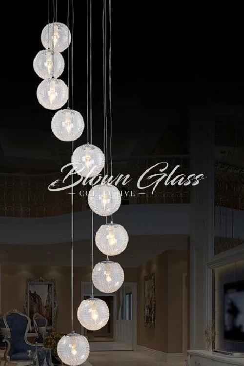 Water's Path Hand Blown Glass Chandelier - Blown Glass Collective