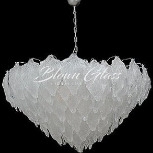 Tea Leaves in White Hand Blown Glass Chandelier - Blown Glass Collective