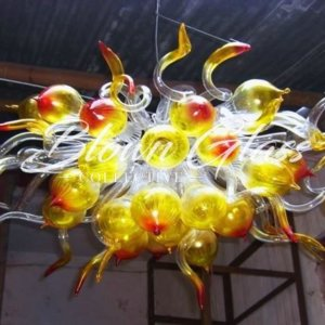 Elemental Fire Hand Blown Glass Chandelier - Blown Glass Collective