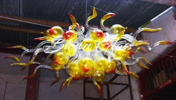 Elemental Fire Hand Blown Glass Chandelier - Blown Glass Collective