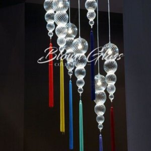 Technicolor Raindrops Hand Blown Glass Chandelier - Blown Glass Collective