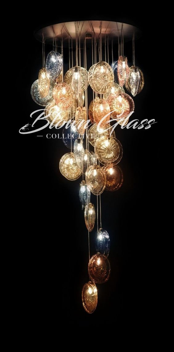 Metallic Sand Dollars Hand Blown Glass Chandelier - Blown Glass Collective