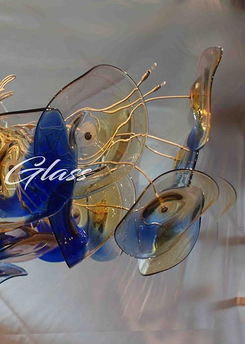 Plating Pendant Hand Blown Glass Plate Chandelier - Blown Glass Collective