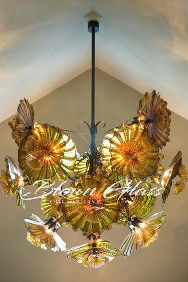 Fall Flowers Hand Blown Glass Plates Chandelier - Blown Glass Collective
