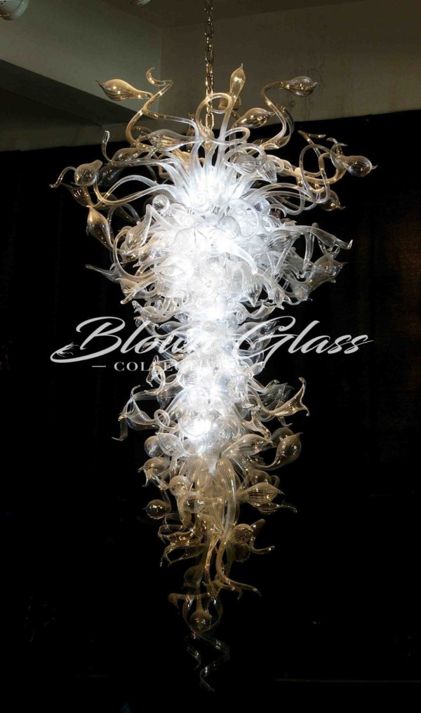 Ribbons & Lilies Hand Blown Glass Chandelier - Blown Glass Collective