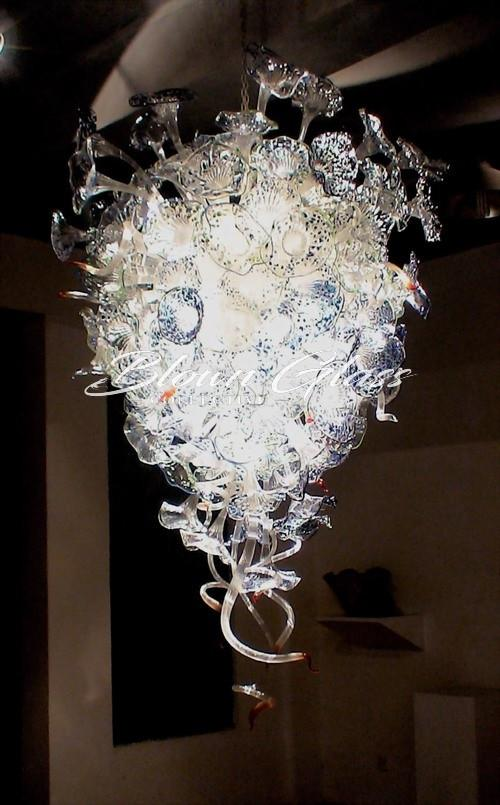Crystal Blue Pansies Hand Blown Glass Chandelier - Blown Glass Collective