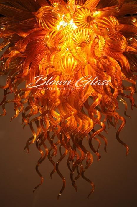 Modern Decorative Chandelier - Smoldering Amber Hand Blown Glass Chandelier - Blown Glass Collective