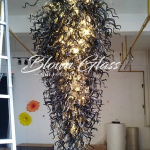 Black Velvet Hand Blown Glass Chandelier - Blown Glass Collective