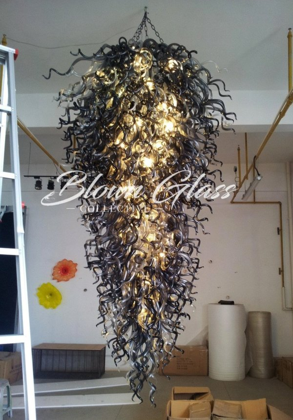 Black Velvet Hand Blown Glass Chandelier - Blown Glass Collective