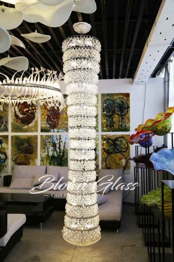 Cascading Crystal Hand Blown Glass Chandelier - Blown Glass Collective