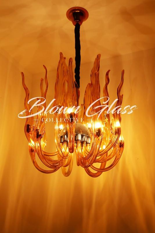 Flames Rising Hand Blown Glass Chandelier - Blown Glass Collective