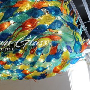 Schooling Fish Hand Blown Glass Chandelier - Blown Glass Collective