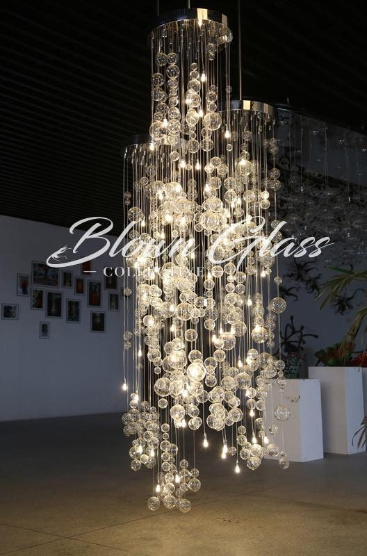 Modern Living Room Chandelier - Crystal Cascading Glass Chandelier - Blown Glass Collective