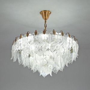Bronze Chandelier - Leaves Falling - Blown Glass Collective