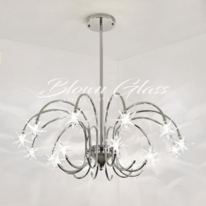 Dining Room Chandelier - Silver Shooting Stars - Blown Glass Collective