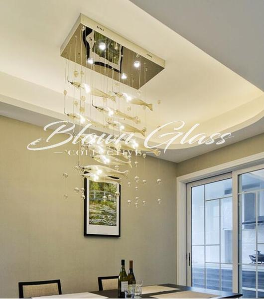Dining Room Chandeliers - Spawning Fish - Blown Glass Collective