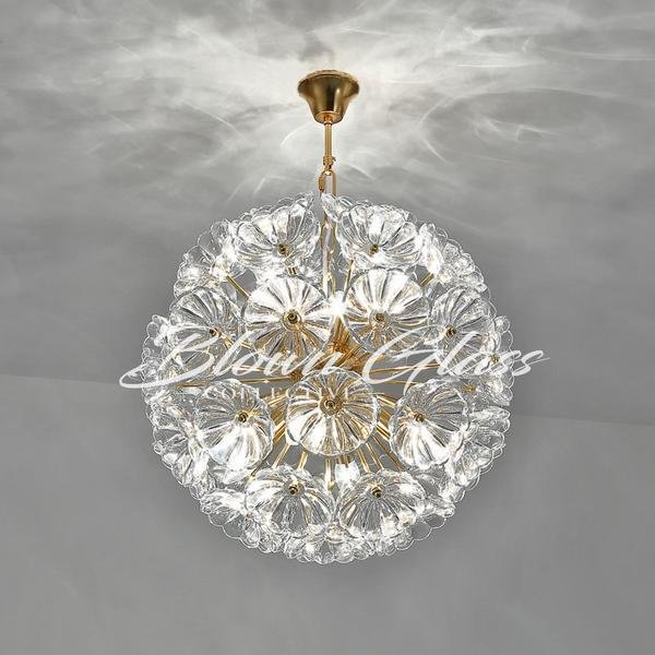 Glass Pendant Lights - Poppy Sphere - Blown Glass Collective