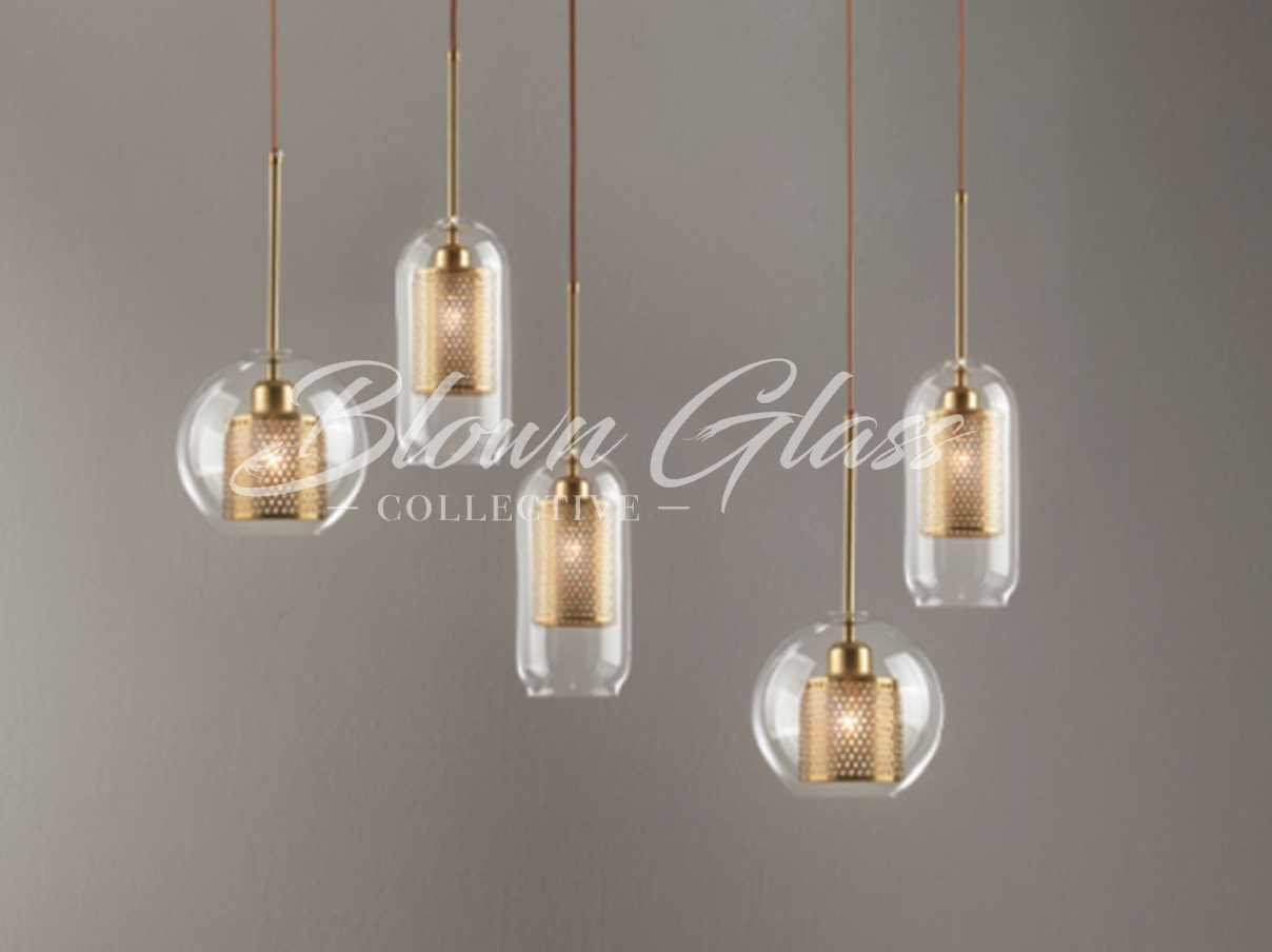 The Hive Pendants In Clear Glass Blown Glass Collective